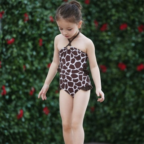 cute giraffe hoodied girl bikini one piece swimwear