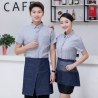 short sleeve invisible button waiter shirts cafe store clerk uniforms