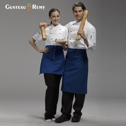 solid color short design apron for chef waiter