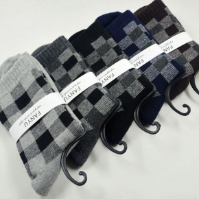 formal design thicken pile cotton block pattern socks for men