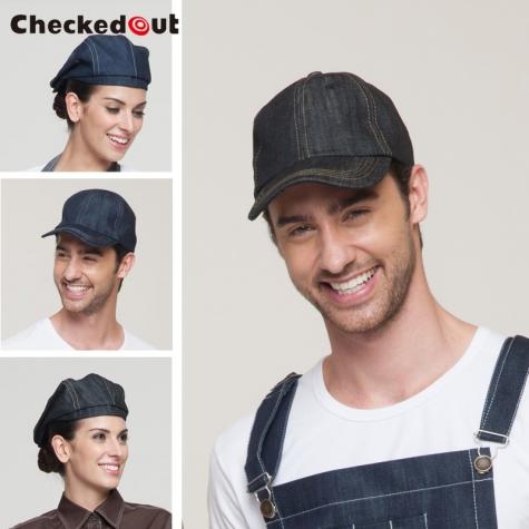 fashion denim fabric outdoor cowboy waiter hat beret hat unisex