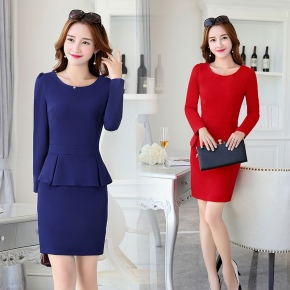 long sleeve elastic high quality office work dress with lining
