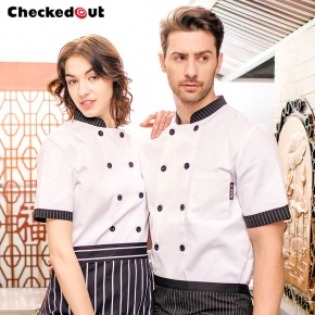 unisex stripes print collar short sleeve summer chef jacket