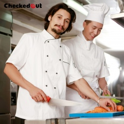 hot sale classic reefer collar unisex chef coat short sleeve