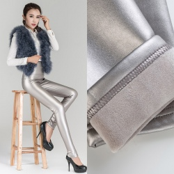 winter warm breathable fleece leather women pant legging