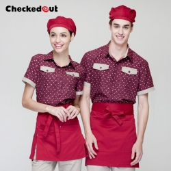 england design heart print restaurant waiter uniforms