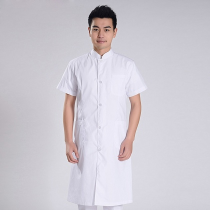 summer thin officer collar front opening male nurse coat