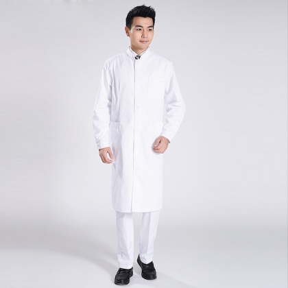 officer collar front opening doctor nurse coat for men
