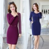 fall fashion round collar women long sleeve work dress
