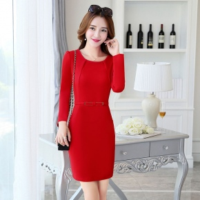 fall round collar women long sleeve work dress BLKE 1633