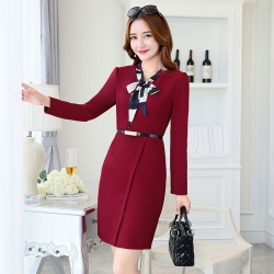 Europe design fashion long sleeve one-piece work dress