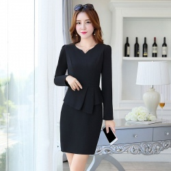 hot sale long sleeve black work dress career women dress