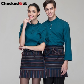 casual wide sleeve opening waiter shirts waiter uniforms