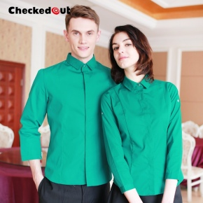 candy color western dished restaurant waiter shirts waiter uniforms
