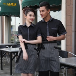hot sale stripes collar hem waiter man uniforms shirt apron special price now