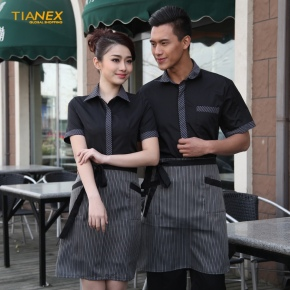 stripes collar hem waiter man uniforms shirt apron