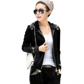 velvet lace patchwork Europe America style fashion young women's sweat suits