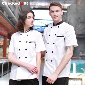 black contrast collar short sleeve unisex chef blouse