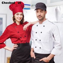 casual fashion double breasted chef coat blouse