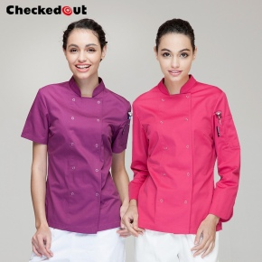 eye-catching solid color women chef jacket uniform