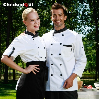 contrast grid collar chef jacket chef coat