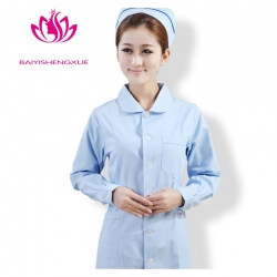 peter pan collar front opening cotton women nurse uniform
