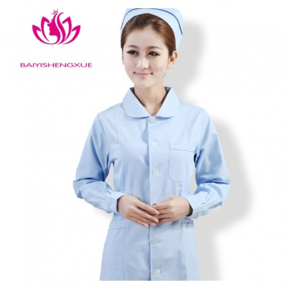 peter pan collar front opening cotton women nurse lab coat uniform
