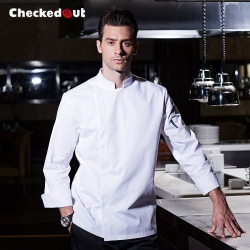 2016 new simple fashion invisible button chef jacket chef workswear uniform