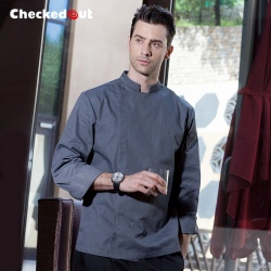2016 new design fashion invisible button long sleeve chef work wear uniform