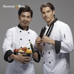 contrast collar hem chef coat jacket uniform