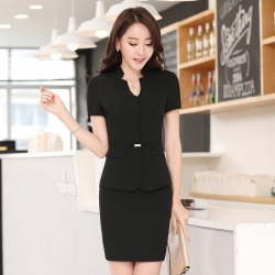 short sleeve office uniform women work pants suits