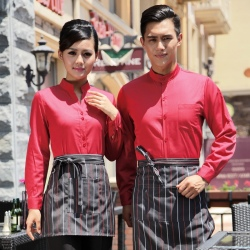 fashion solid color long sleeve shirt for waiter waitress