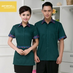 2015 new cotton fabric hotel stores uniform short sleeve