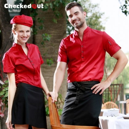 short sleeve V-collar coffee bar KTV waiter waitress uniform work wears