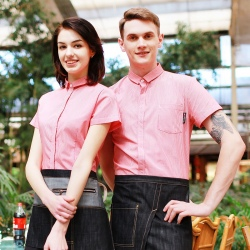 pink stripes hotel restaurant waitress waiter uniforms shirt