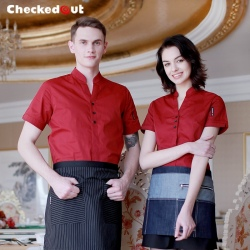 three button v-collar restaurant waiter shirts bar cafe waitress uniforms shirt