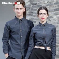 Europe Design denim fabric restaurant waiter uniforms shirt jacket