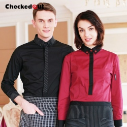 black contrast color collar closure bar waiter shirts cafe uniforms