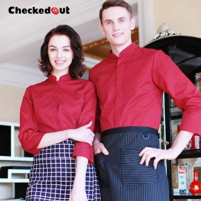 long sleeve invisible button waiter shirts cafe uniforms store staff workwear