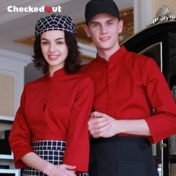 long sleeve invisible button restaurant wait staff waiter shirts cafe uniforms