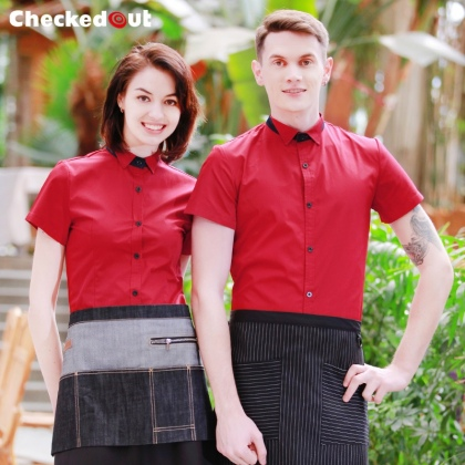 summer short sleeve Europe America food restaurant waiter shirts