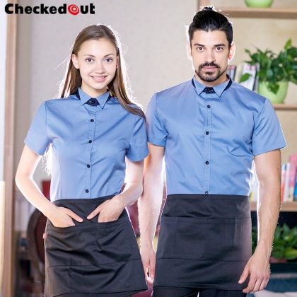 short sleeve Europe America bar pub waiter uniform waitress shirts