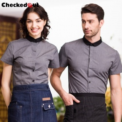 high quality food restaurant table wait staff uniform waiter shirts