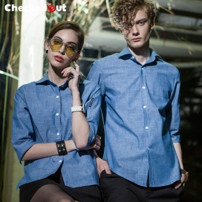 2018 fashion light blue cafe pub clerk uniform waiter waitress shirt
