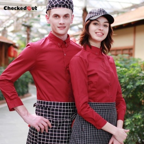 long sleeve hot pot pub KTV bar waitress waiter shirt restaurant uniform