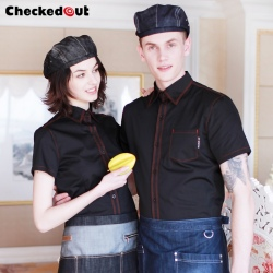 checkedout denim fabric restaurant waitress waiter jacket blouse uniform