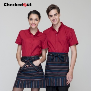short sleeve milk tea store clerk uniform waiter restaurant staff uniform