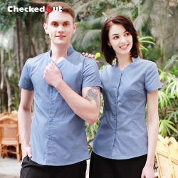 summer thin restaurant book store clerk uniform waitress waiter shirt