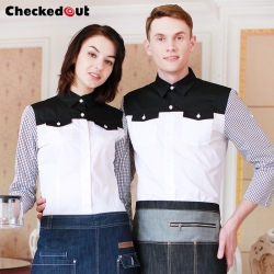 black white patchwork shirt clerk uniform waitress waiter shirt