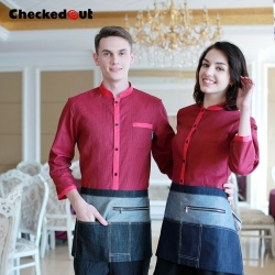 adjustable sleeve shirt clerk uniform waitress waiter shirt